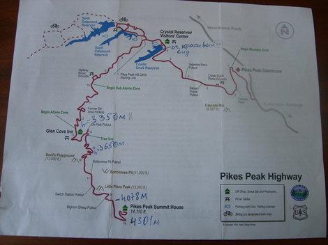 План платной дороги, ведущей на Пайкс Пик.