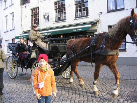 Конные повозки  на улицах Брюгге