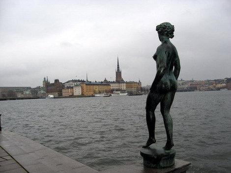 Стокгольм. Вид на озеро Меларен и остров Риддархольмен с набережной возле городской Ратуши