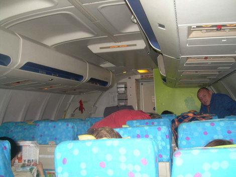 Внутри зелененького самолетика
