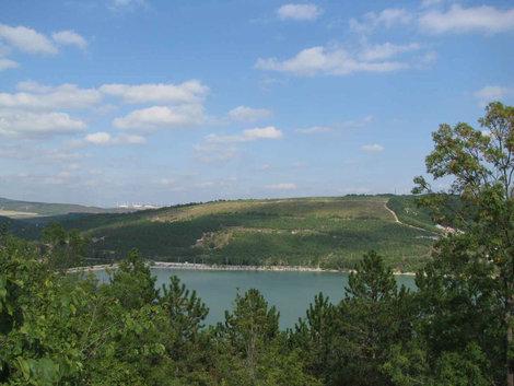 Озеро Абрау совсем с высоты