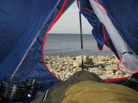 Дивное утро, вид из палатки