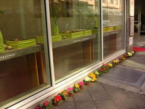 Цветы у витрины