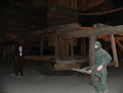 В этом зале демонстрируется использование труда лошадей.