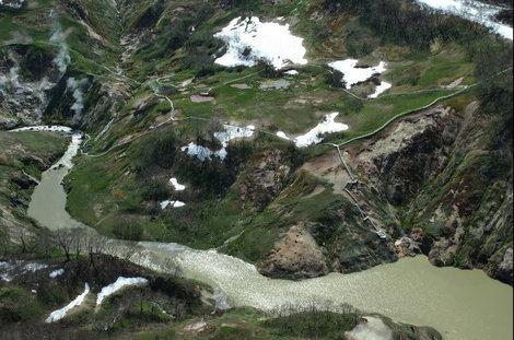 Верхняя часть запрудного озера. Вид на восток. Фото Камчатские авиалинии