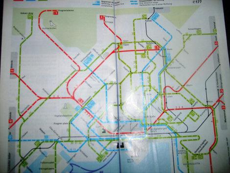 Не очень удачное фото схемы городского транспорта.