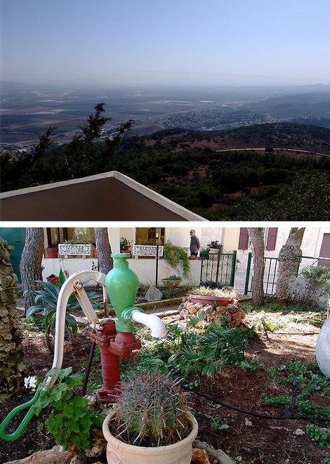 Вид на Езреельскую долину. Садик у храма.