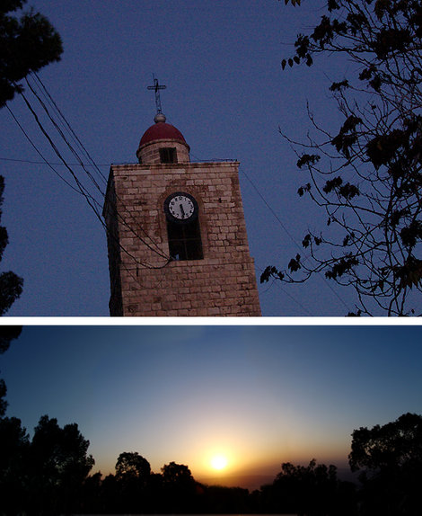 Гора Фавор. Часы на башне показывают время утренней молитвы. Ниже — один восход от тысячи невзгод, тем более, если это восход на горе Фавор.
