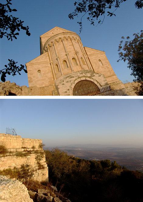 Венчает гору Фавор церковь Преображения. Внизу еще спящий Израиль.
