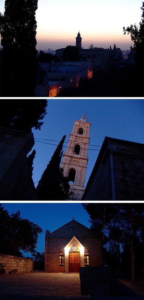 Церковь «Вознесения Христова» с высокой четырехгранной колокольней («Русской свечой»). Построена на месте обретения головы Иоанна Крестителя (здание с витражами).