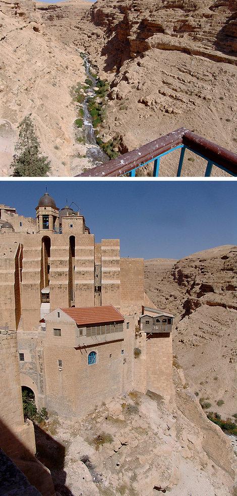 Лавра «Саввы Освященного» в Иудейской пустыне.  Прильнула к отвесной стене, чтобы не упасть в пропасть.