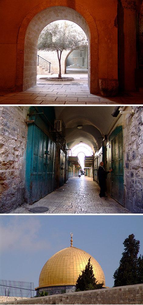 Раннее утро в Старом городе. Купол мечети Омара был ориентиром на пути к Стене плача.