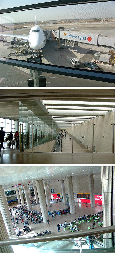 Первые шаги по Святой земле. Израиль начинается с представительного аэропорта Бен Гурион. Старики и толстяки здесь ездят на электромобилях (на правом пандусе вдалеке). Ниже, встречающие в холле первого этажа.