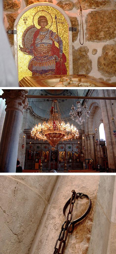 Первая остановка — город Лидде, близ Яффы и Тель-Авива, греческая церковь, в которой покоится прах Св. Георгия Победоносца (легенды оживают) и где к колонне прибиты его вериги, им поклоняются даже мусульмане. Говорят, помогают от головной боли.
