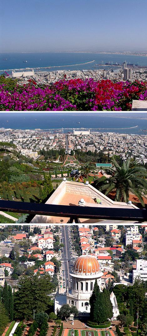 Хайфа — израильская Одесса. Вид на море, бухту, торговый порт и Храм Бахай — место поклонения одноименной секты исламского происхождения.