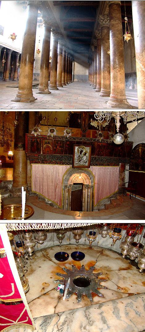 Зал храма Рождества. Вход в святая святых. Серебряная звезда с надписью на латыни: «Здесь родился Христос от Девы Марии». Над звездой — 15 серебряных лампад, по одной от каждой христианской общины.