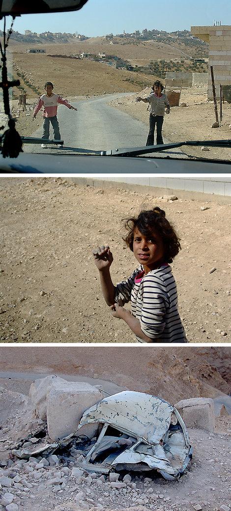Палестиныши попрошайки. Ниже — на дороге машины тех, кто не уважил маленьких аборигенов :-)