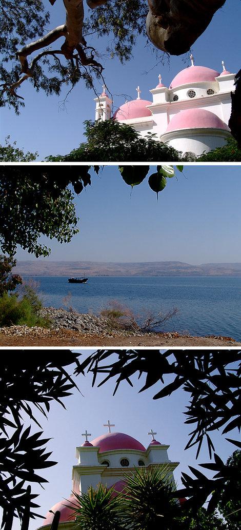 Где-то рядом дом Ап. Петра. Христос проповедовал здесь несколько лет. На воде видны дорожки — следы хождения Спасителя.