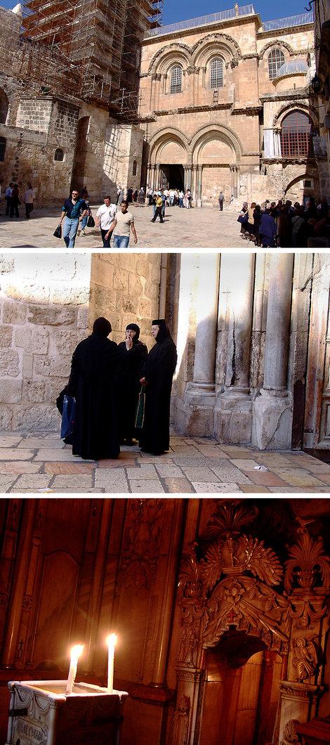 Храм Гроба Господня. У входа — та самая колонна. В «Пределе ангела» — свечи, зажженные от Благодатного огня. Они стоят на осколке камня, которым был привален вход и на котором Ангел возвестил женам о Воскрешении. Рядом вход в гробницу.