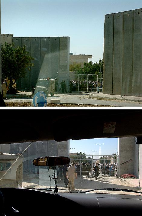Здесь мы вынуждены протискиваться между охраной и толпой арабов, пытающейся прорваться на молитву, и двумя высокими уродливо-бетонными 8-ми метровыми стенами, которые защищают евреев от палестинских снайперов.